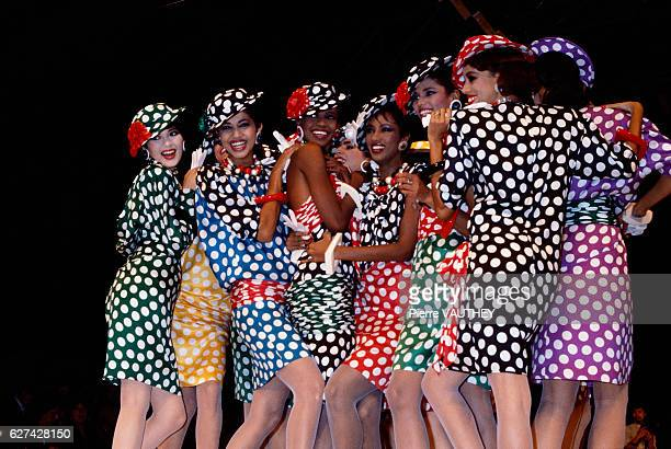 French design house Emanuel Ungaro shows its 1985 springsummer women's readytowear line in Paris The models are wearing polka dot dresses with...