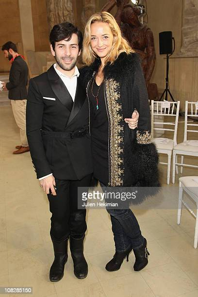 French designer Alexis Mabille and Helene de Fougerolles attend the Alexis Mabille show as part of the Paris Haute Couture Fashion Week Fall/Winter...