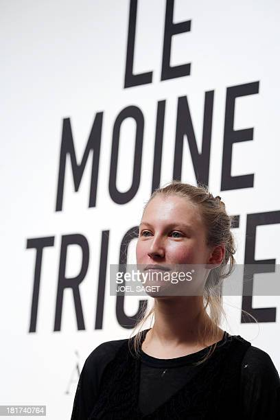 French designer Alice Lemoine poses as her creations are on display during the 2014 Spring/Summer readytowear collection fashion presentation on...