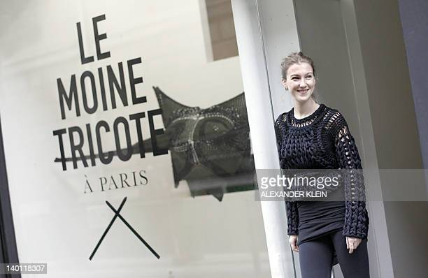 French designer Alice Lemoine poses outside Le Moine Tricote a Paris store during the presentation of her Fall/Winter 20122013 readytowear collection...