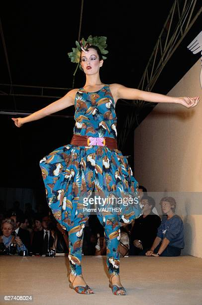French designer Chantal Thomass shows her 1980 springsummer women's readytowear collection in Paris The model is wearing a patterned pants outfit...