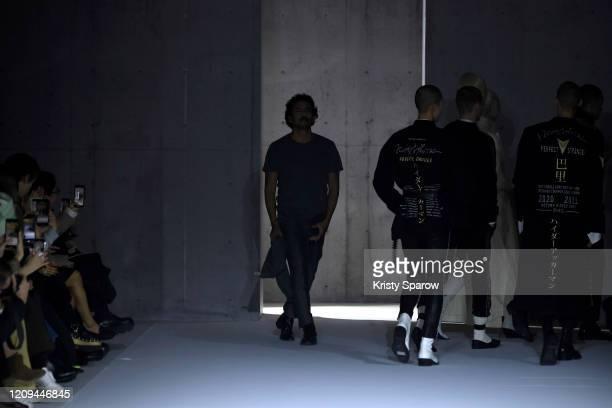 French Designer Haider Ackermann acknowledges the audience during the Haider Ackermann show as part of Paris Fashion Week Womenswear Fall/Winter...