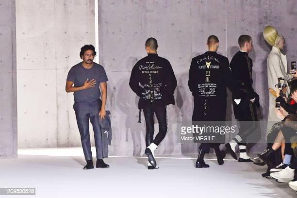 French Designer Haider Ackermann walks the runway during the Haider Ackermann Ready to Wear fashion show as part of the Paris Fashion Week Womenswear...