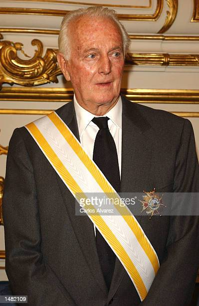 French designer Hubert de Givenchy attends the ceremony where he will receive the condecoration 'Gran Cruz de Isabel La Catolica' at Viana Palace...