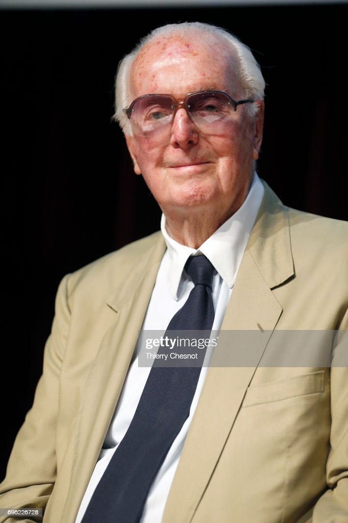 French designer, Hubert de Givenchy delivers a speech during the press day of the exhibition 'Hubert de Givenchy' at 'Cite de la Dentelle et de la Mode' on June 15, 2017 in Calais, France. This exhibition takes part from June 15 to December 31, 2017.