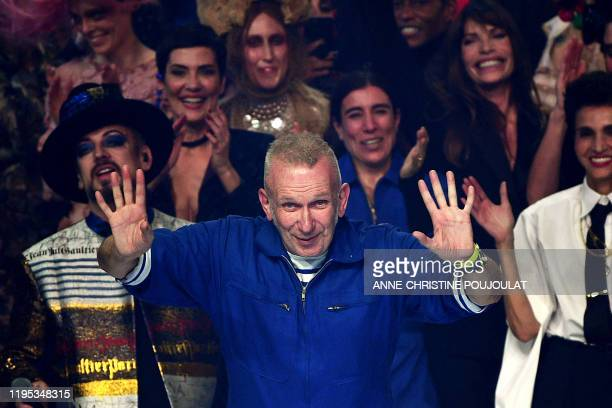 TOPSHOT French designer Jean Paul Gaultier acknowledges the audience at the end of his Women's SpringSummer 2020 Haute Couture collection fashion...