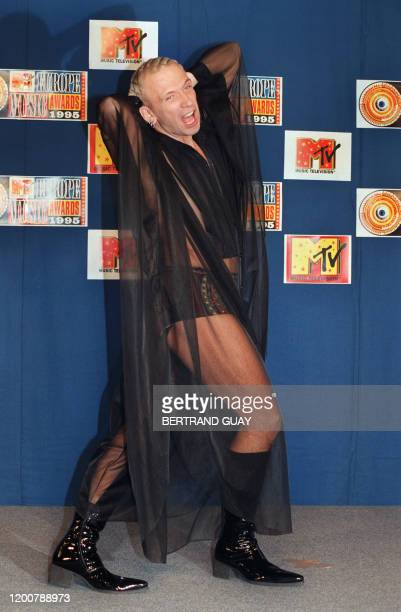 French designer Jean-Paul Gaultier presents, 23 November 1995, the Europe Music Awards at the Zenith concert hall in Paris. French designer Jean-Paul...