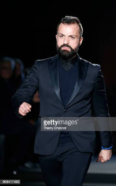 French designer Julien Fournie acknowledges the audience at the end of the Julien Fournie Spring Summer 2018 show as part of Paris Fashion Week on...