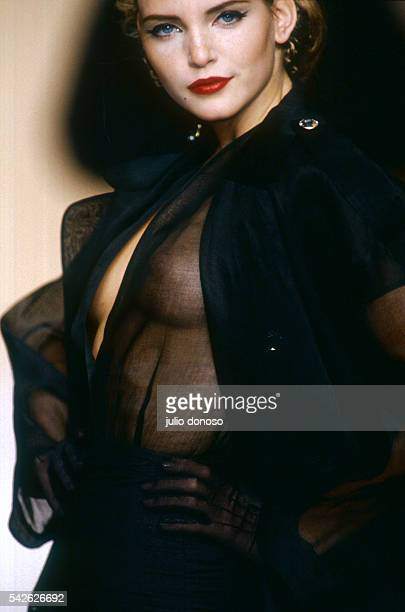 French designer Michel Klein displays his women's readytowear line at the 1992 SpringSummer fashion show in Paris The model is wearing a sheer black...