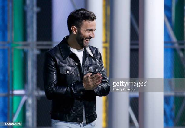 French designer Nicolas Ghesquiere acknowledges the audience at the end of the Louis Vuitton show as part of the Paris Fashion Week Womenswear...