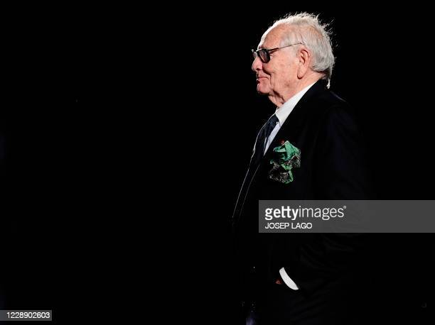 French designer Pierre Cardin acknowledges the audience during the 080 Barcelona fashion on January 28, 2012 in Barcelona. AFP PHOTO/ JOSEP LAGO