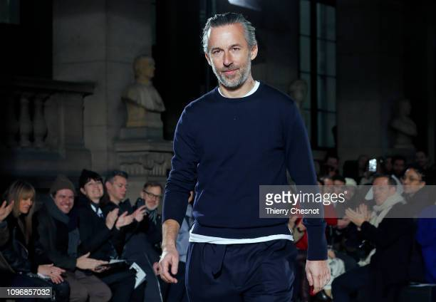 French designer Pierre Maheo acknowledges the audience at the end of the Officine Generale Menswear Fall/Winter 20192020 show as part of Paris...