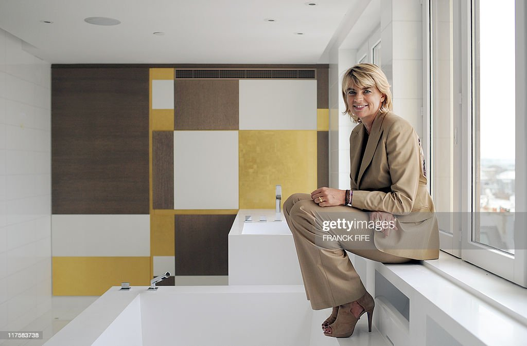 french designer sybille de margerie poses at the hotel. Black Bedroom Furniture Sets. Home Design Ideas