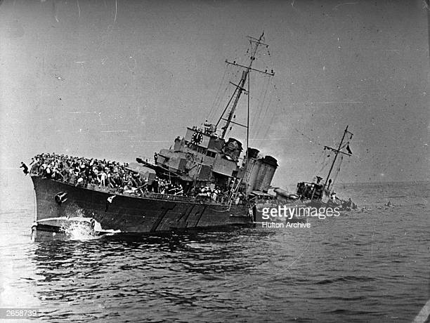 French destroyer Bourrasque sinking after hitting a mine on the way back from Dunkirk with some 1200 men aboard many of whom died