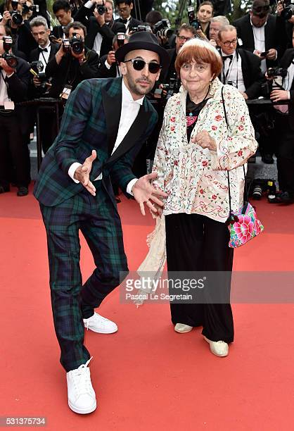 French director Agnes Varda and French photographer JR attend the The BFG Premiere during the annual 69th Cannes Film Festival at the Palais des...