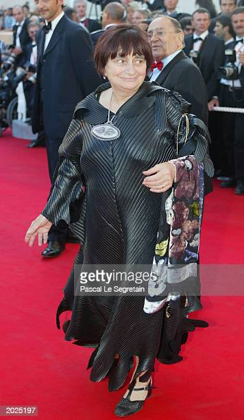 French director Agnes Varda arrives for the screening of the film Mystic River at the Palais des Festivals during the 56th International Cannes Film...