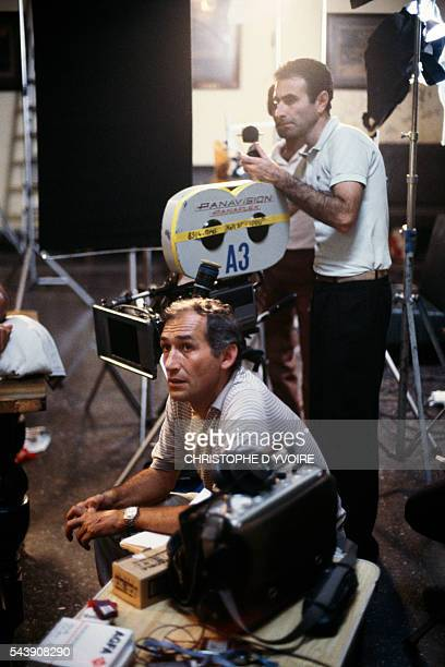French director Alain Corneau and director of photography Yves Angelo on the set of Corneau's film Nocturne Indien