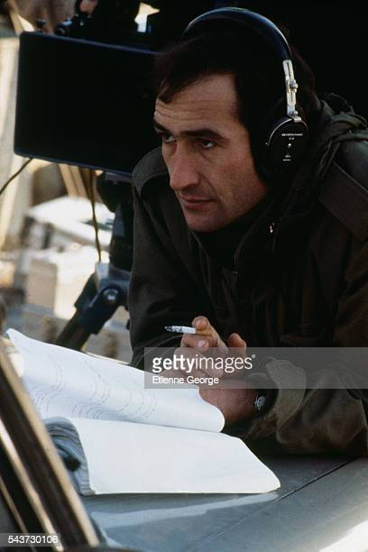 French director Alain Corneau on the set of his film Serie Noire based on American writer Jim Thompson's novel A Hell of a Woman and on French writer...