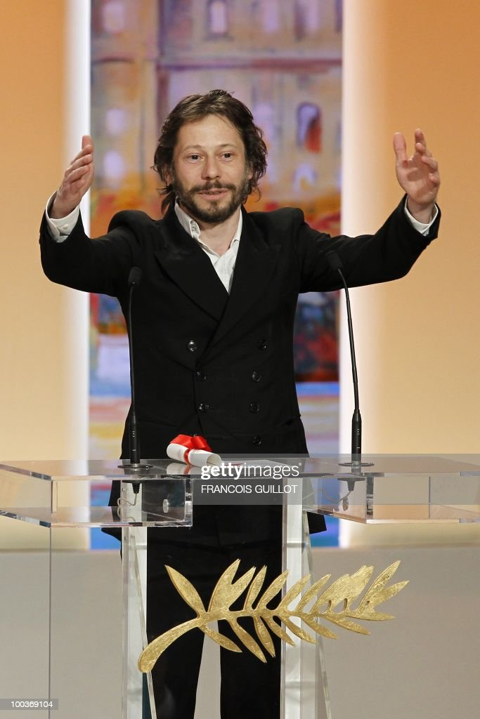 French director and actor Mathieu Amalric speaks after winning the Best Director award for 'Tournee' (On Tour) during the closing ceremony at the 63rd Cannes Film Festival on May 23, 2010 in Cannes.
