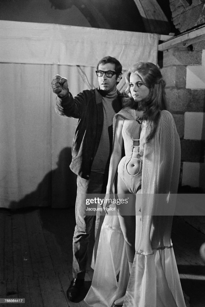 French director and screenwriter Roger Vadim and his wife American actress Jane Fonda on the set of Metzergerstein, a segment of the three-part film Histoires Exraordinaires (Spririts of the Dead).