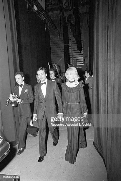 French director and singer Alain Delon and French actress and director Mireille Darc attending an awarding ceremony Paris 1968