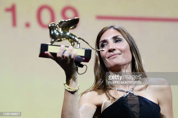 """French director Audrey Diwan acknowledges receiving the Golden Lion for Best Film for """"L'Evenement"""" during the closing ceremony of the 78th Venice..."""