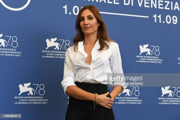 """French director Audrey Diwan attends a photocall for the film """"l'Evenement"""" presented in competition on September 6, 2021 during the 78th Venice Film..."""
