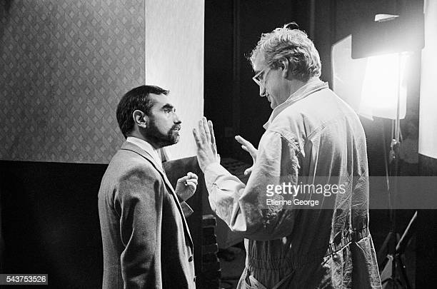 French director Bertrand Tavernier directing Martin Scorsese as an actor on the set of his film Round Midnight based on the David Rayfiel screenplay