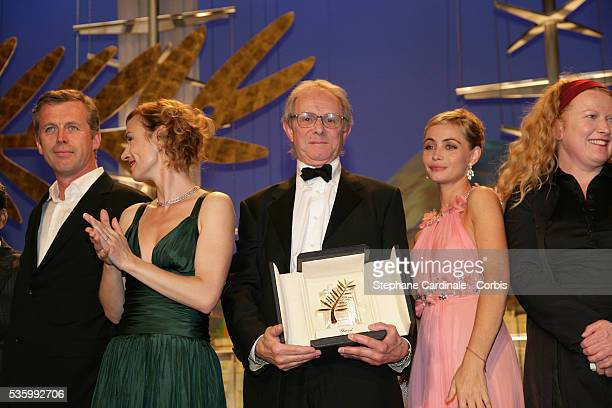 French director Bruno Dumont Sandrine Bonnaire British director Ken Loach Emmanuelle Beart and British director Andrea Arnold at the closing ceremony...