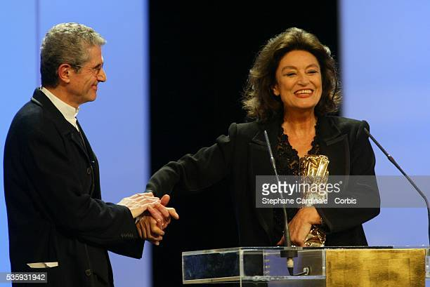 French director Claude Lelouch and Anouk Aimee with her Honorary Award