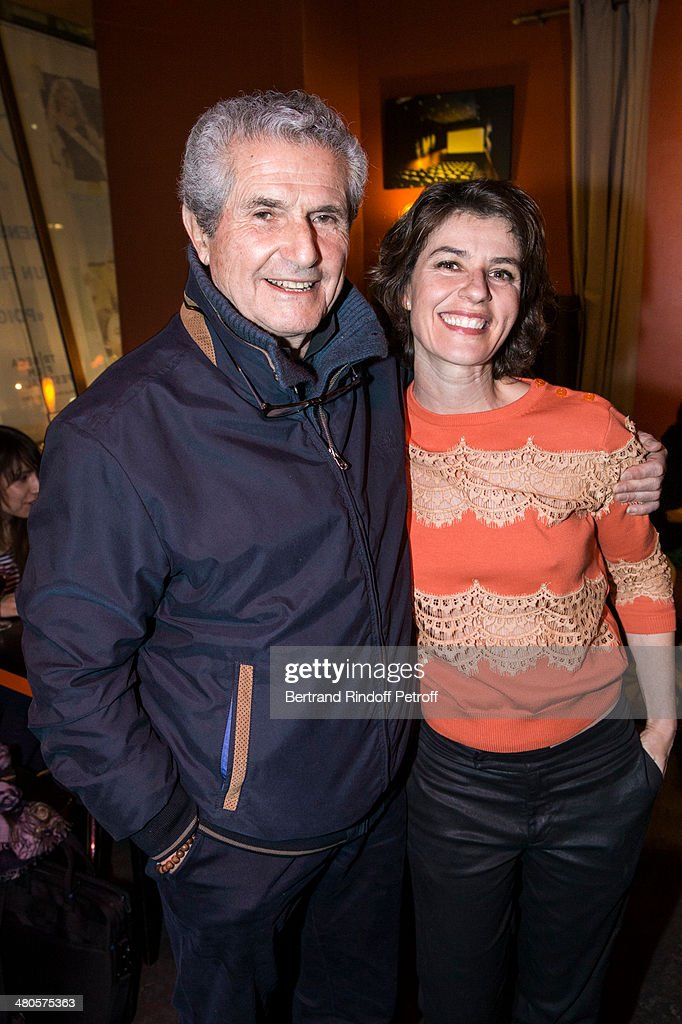 French director Claude Lelouch (L) and French actress Irene Jacob attend the private screening of French director Claude Lelouch's latest film 'Salaud, On t'aime' (Bastard, we love you), in which they star, at the Cinema des Cineastes theater on March 25, 2014 in Paris, France.