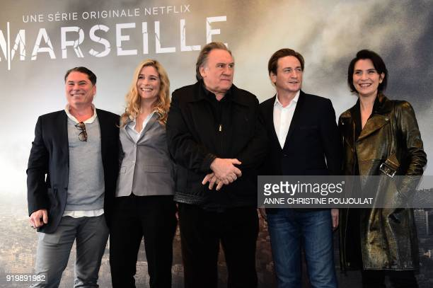 French director Florent EmilioSiri and French actors Natacha Regnier Gerard Depardieu Benoit Magimel and Geraldine Pailhas pose during a photocall...