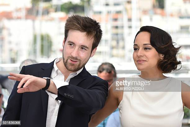 """French director Gregoire Leprince-Ringuet and French actress Pauline Caupenne pose on May 17, 2016 during a photocall for the film """"Fool Moon """" at..."""