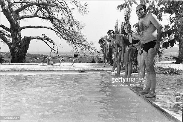 French director Jacques Deray Austrian born actress Romy Schneider French actor Alain Delon French swimmers Christine Caron and Alain Mosconi on the...