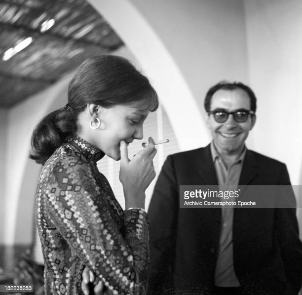 French director Jean Luc Godard with Anne Wiazemsky after lunch Lido Venice 1967