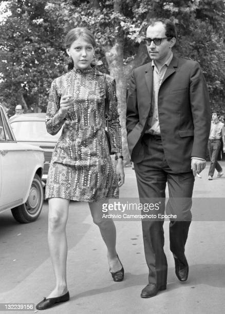 French director Jean Luc Godard with Anne Wiazemsky having a walk in Lido Venice 1967