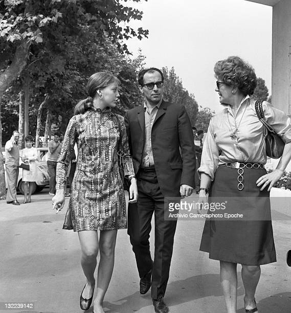 French director Jean Luc Godard with Anne Wiazemsky having a walk Lido Venice 1967