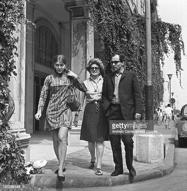 French director Jean Luc Godard with Anne Wiazemsky in Lido Venice 1967