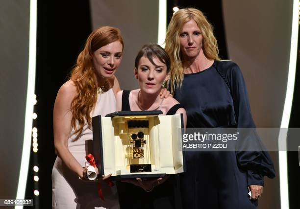 TOPSHOT French director Leonor Serraille and French actress Laetitia Dosch pose with the Camera d'Or prize after Serraille was awarded with the...