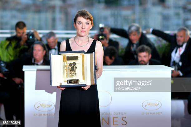 French director Leonor Serraille poses on May 28 2017 during a photocall after she won the Camera d'Or prize for her film 'Jeune Femme ' on May 28...