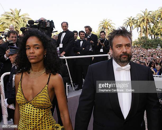 French director Luc Besson and his wife Virginie Silla attend the premiere of Andrew Adamson Kelly Asbury and Conrad Vernon's animation movie Shrek 2...