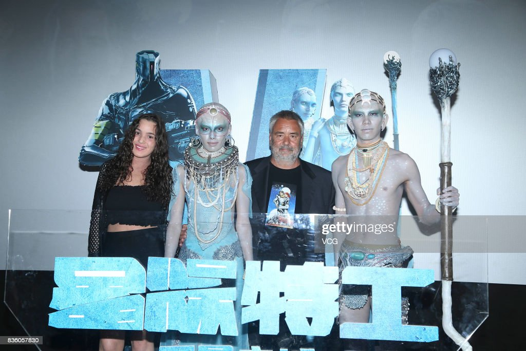 French director Luc Besson (R2) promotes his film 'Valerian and the City of a Thousand Planets' on August 20, 2017 in Beijing, China.