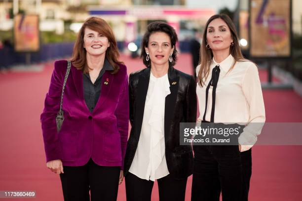 French director MarieCastille MentionSchaar French writer Audrey Diwan and French producer Sandrine Brauer arrive to receive a tribute during the...