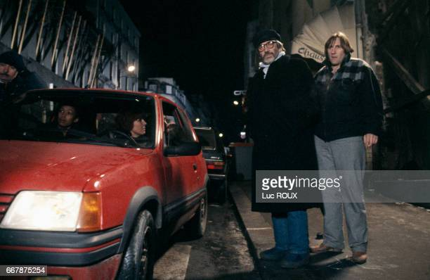 French director Maurice Pialat and French actor Gerard Depardieu on the set of Pialat's film Police.
