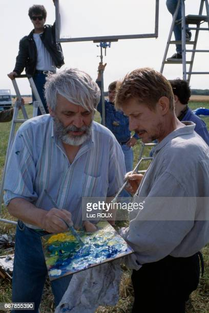 French director Maurice Pialat and French actor Jacques Dutronc on the set of Pialat's film Van Gogh