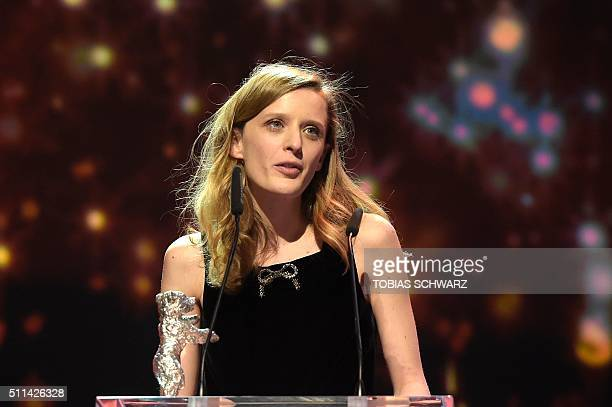"""French director Mia Hansen-Love speaks after receiving the Silver Bear for Best Director for the film """"L'Avenir"""" during the awards ceremony of the..."""