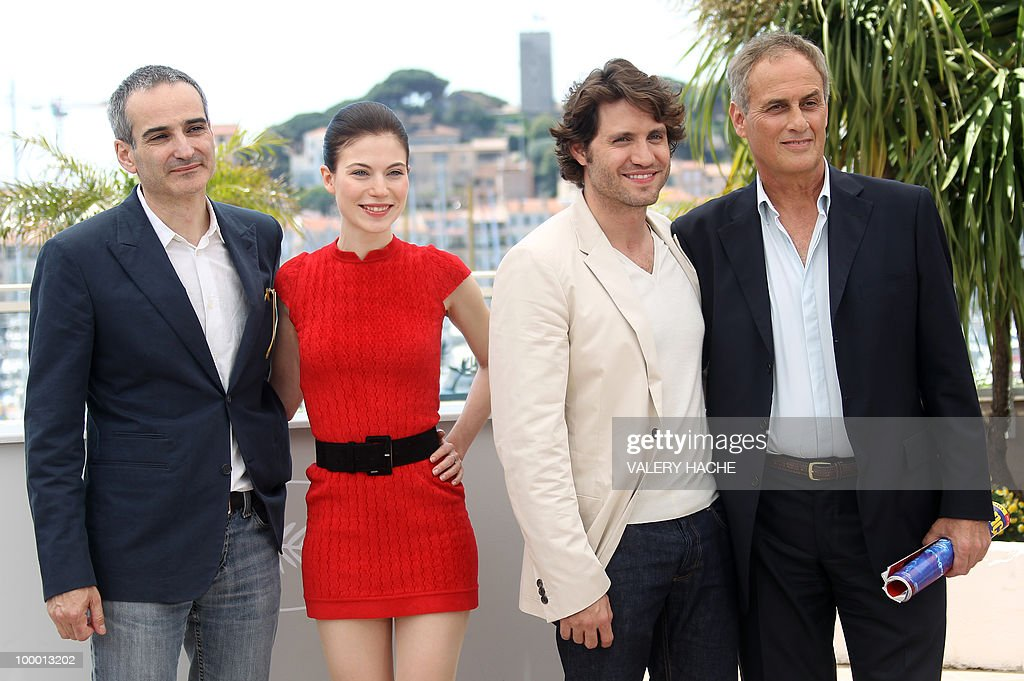 French director Olivier Assayas, Austrian actress Nora Von Waldstatten, Venezuelian born actor Edgar Ramirez and French producer Daniel Leconte pose during the photocall of 'Carlos' presented out of competition at the 63rd Cannes Film Festival on May 20, 2010 in Cannes.