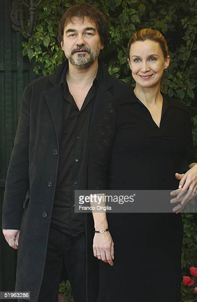 French director Olivier Marchal and his wife actress Catherine Marchal attend a photocall to promote their new movie '36' at the Hotel Eden Terrace...