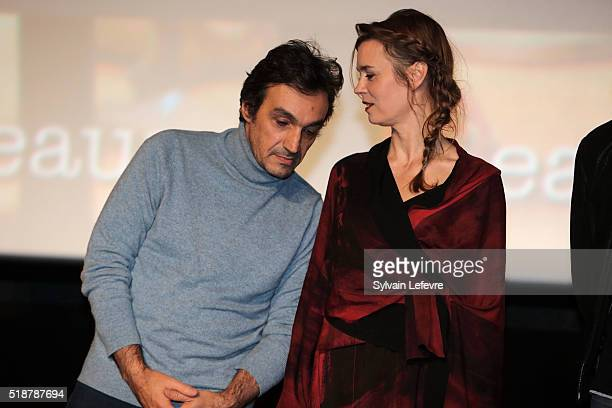 French director Philippe Haim and actress Caroline Proust attend closing ceremony of 8th Beaune International Thriller Film Festival on April 2 2016...