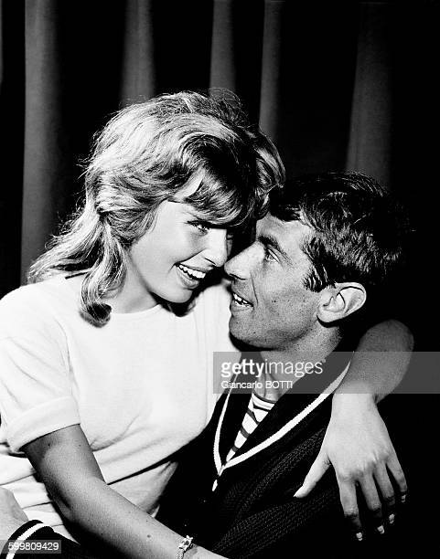 French Director Roger Vadim And Wife Danish Actress Annette Stroyberg in Paris France circa 1960